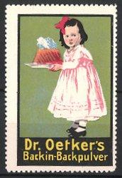 Reklamemarke Dr. Oetker's Backin-Backpulver, Mädchen mit Kuchen
