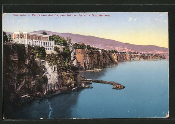 AK Sorrento, Panorama dai Cappuccini con la Villa Soldatenkow