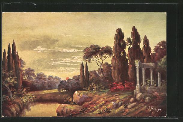 Künstler-AK Gottlieb Moritz Fiebiger: Schöne Landschaft mit Ruine