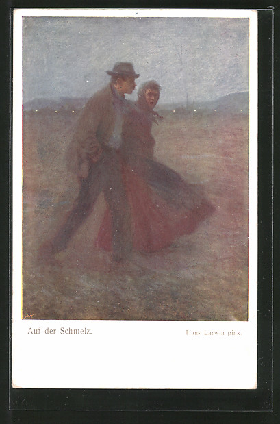 Künstler-AK Hans Larwin: auf der Schmelz, Paar geht spazieren