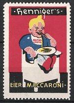 Reklamemarke Henniger's Eier-Maccaroni, Junge verzehrt Nudeln