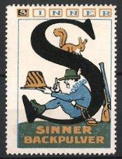 Reklamemarke Sinner-Backpulver, Jäger mit Kuchen und Eichhörnchen