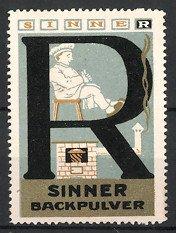 Reklamemarke Sinner-Backpulver, Koch mit Backofen