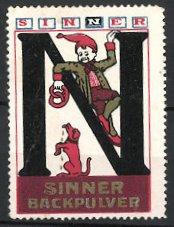 Reklamemarke Sinner-Backpulver, Junge mit Bretzel und Hund