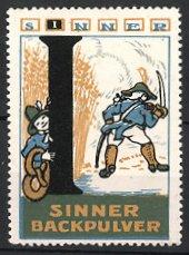 Reklamemarke Sinner-Backpulver, Junge mit Bretzel und Soldaten