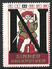 Reklamemarke Sinner-Backpulver, Adliger mit Schwert und Kuchen