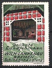 Reklamemarke Delikatess-Landschinken der Firma Lankenau, Bremen, Blick in die Räucherkate