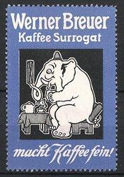 Reklamemarke Kaffee der Firma Werner Breuer,