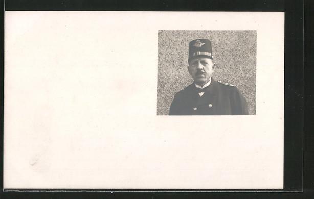 Foto-AK Porträt Eisenbahner in Uniform