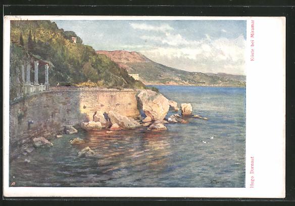 Künstler-AK Hugo Darnaut: Küste bei Miramar