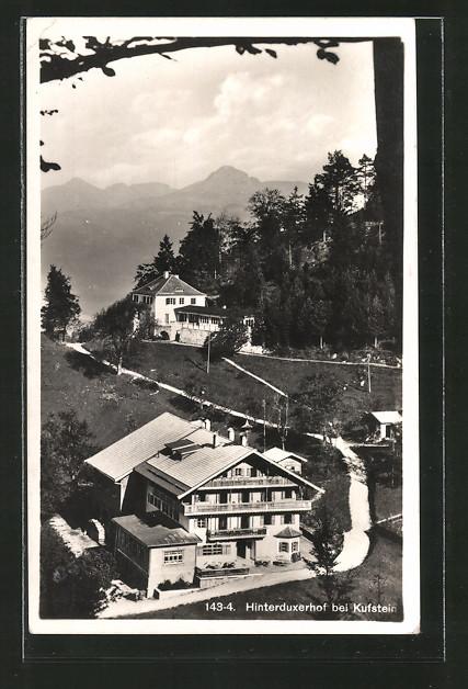 AK Hinterduxerhof, Ortsansicht mit Strassen aus der Vogelschau