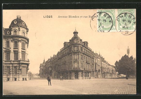 AK Liege, Avenue Blonden et rue Raiker, Strassenpartie