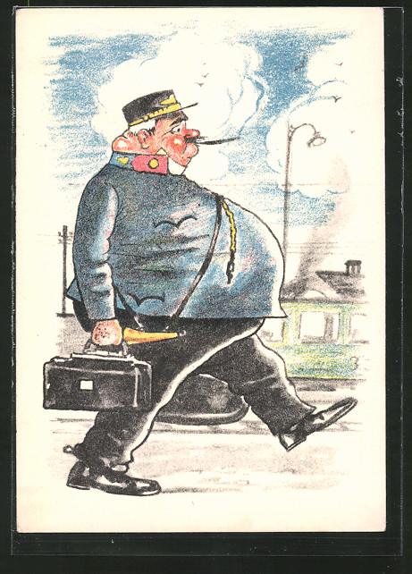 Künstler-AK sign. F. Dus: wohlbeleibter Eisenbahner geht zur Schicht