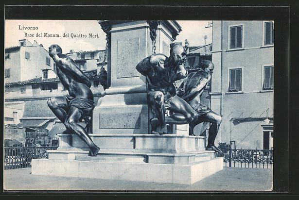 AK Livorno, Base del Monum. dei Quattro Mori, Denkmal