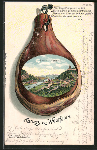 Passepartout-Lithographie Porta Westfalica, Blick zum Ort, Schinken