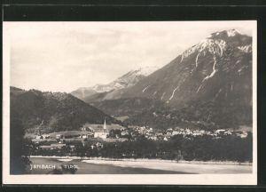 AK Jenbach, Ortspanorama mit Bergen