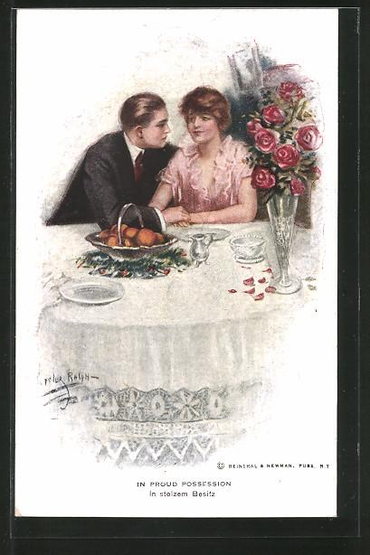 Künstler-AK Lester Ralph: Liebespaar hält Händchen am Tisch
