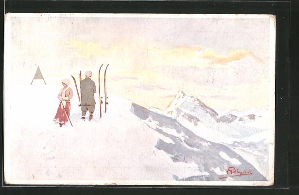 Künstler-AK Carlo Pellegrini: Paar mit Ski in den Bergen
