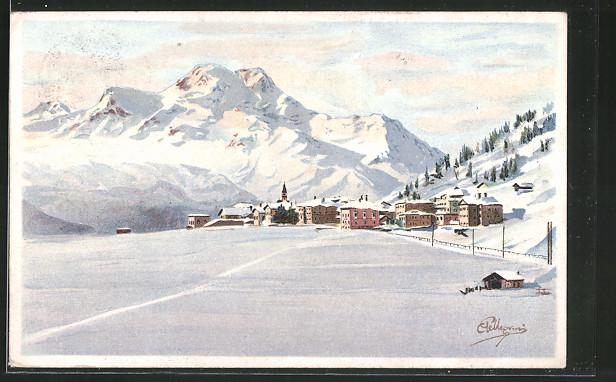 Künstler-AK Carlo Pellegrini: Winterpanorama mit Bergen