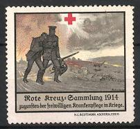 Reklamemarke Rote Kreuz-Sammlung 1914, verwundeter Soldat wird von Sanitäter gestützt
