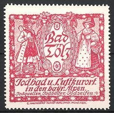 Reklamemarke Solbad und Luftkurort Bad Tölz, Bad Tölzer in Tracht