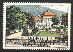 Reklamemarke Moorbad Bad Elster, Blick auf das Emanatorium