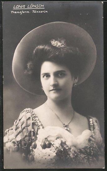 AK Porträt Ausdruckstänzerin Lona Lönsch mit Hut