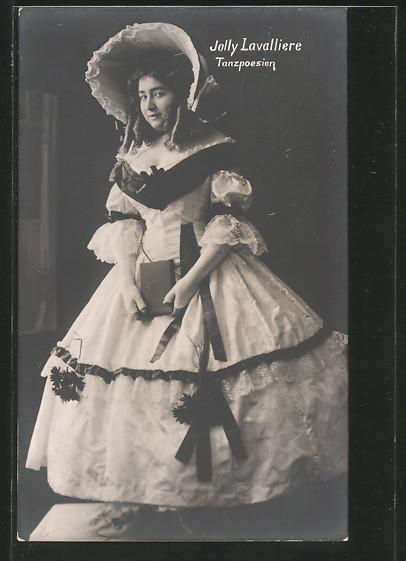 AK Ausdruckstänzerin Jolly Lavalliere im Kostüm, Tanzpoesien