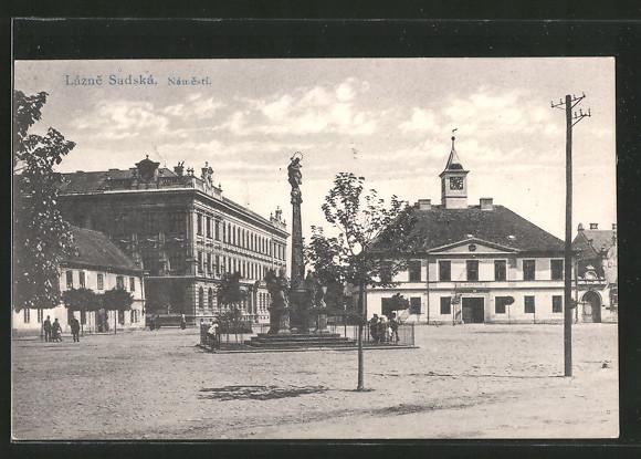AK Lázne Sadská, Námesti, Marktplatz mit Rathaus u. Säule