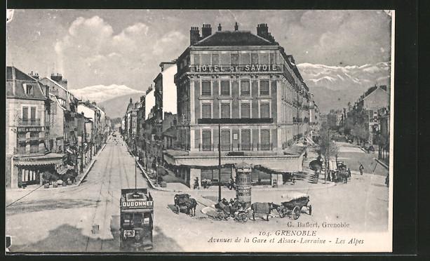 AK Grenoble, Avenues de la Gare et Alsace-Lorraine, Les Alpes, Hotel de Savoie, Strassenbahn