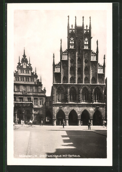 AK Münster, Stadtweinhaus mit Rathaus