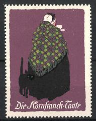 Künstler-Reklamemarke Ludwig Hohlwein, Kornfranck-Kaffee, die Kornfranck-Tante mit schwarzer Katze
