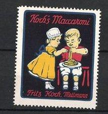 Reklamemarke Koch's Maccaroni der Firma Fritz Koch, Mettmann, Kinder naschen Maccaroni