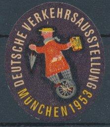 Reklamemarke München, Deutsche Verkehrs-Ausstellung 1953, Mann balanciert auf Einrad