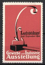 Reklamemarke Ludwigsburg, Gewerbe-und Industrie-Ausstellung 1914, Hobel, orange
