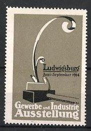 Reklamemarke Ludwigsburg, Gewerbe-und Industrie-Ausstellung 1914, Hobel, grau