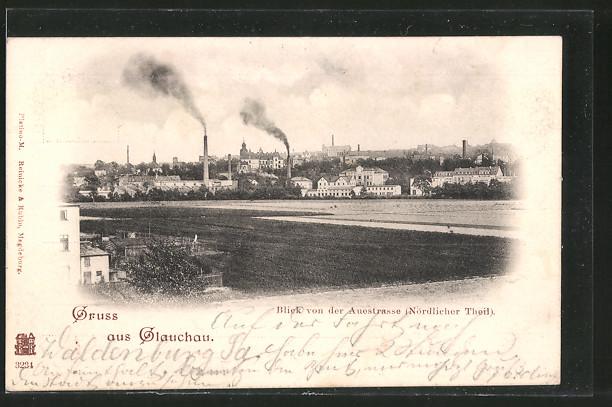 AK Glauchau, Blick von der Auestrasse auf die Stadt