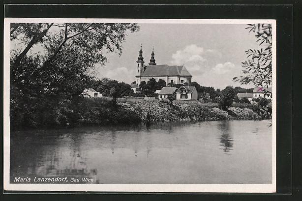 AK Maria Lanzendorf, Blick auf eine Kirche