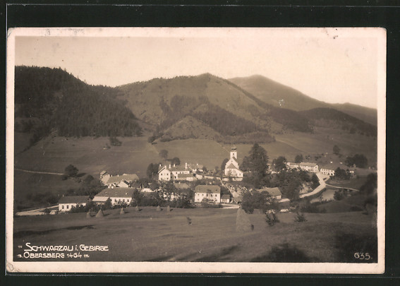 AK Schwarzau i. Gebirge, Ortspanorama mit Obersberg
