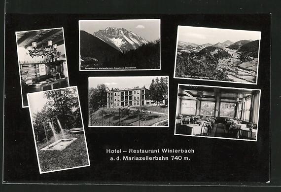 AK Winterbach a. d. Mariazellerbahn, Hotel und Restaurant, Innen- & Aussenansichten