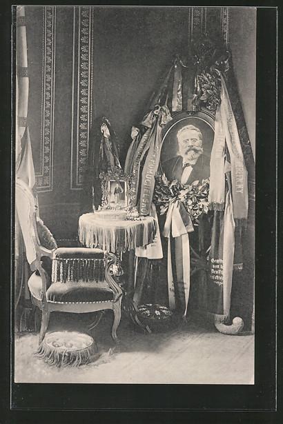 AK Eisenach, Gedenkfeier für Fritz Reuter, Porträt vorn Fritz Reuter