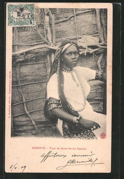 AK Djibouti, Type de jeune femme Somalis, afrikanische Volkstypen