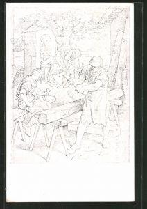 Künstler-AK Tischler bei der Arbeit