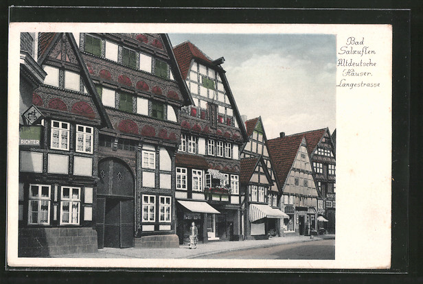ak bad salzuflen altdeutsche h user langestrasse nr. Black Bedroom Furniture Sets. Home Design Ideas