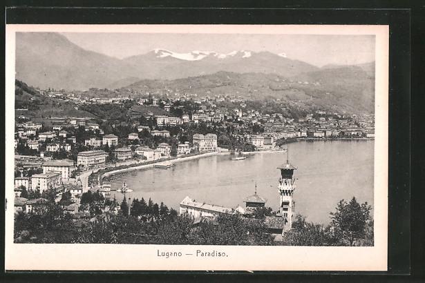 AK Lugano, Paradiso, Blick auf den Luganersee und Teilansicht des Ortes