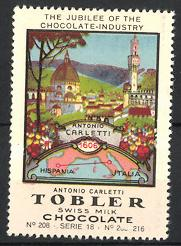Reklamemarke Tobler Swiss Milk Chocolate, Jubilee of Chocolate Industry, Antonio Carletti 1606