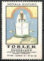Reklamemarke Tobler Suisiana Lakto Chokolado, Homala Kulturo, Mondo-yuro, Justitia mit Waage und Schwert