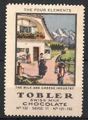 Reklamemarke Tobler Swiss Milk Chocolate, Milk & Cheese Industry, schweizer Senner