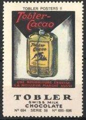 Reklamemarke Tobler Swiss Milk Chocolate, Tobler Posters II, Kakao Packung