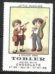 Reklamemarke Tobler Swiss Milk Chocolate, Little Musicans, A Country Song, Musikant spielt Querflöte